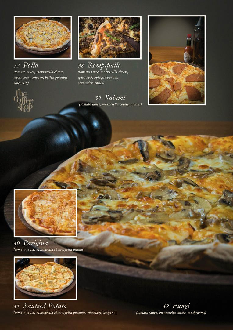 A page with options of pizzas from the menu card of Coffee Shop, Gangtok
