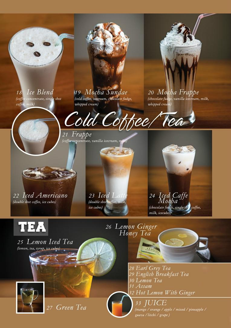 A page with options of beverages from the menu card of Coffee Shop, Gangtok