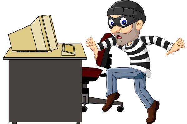 A cartoon of a thief stealing a keyboard
