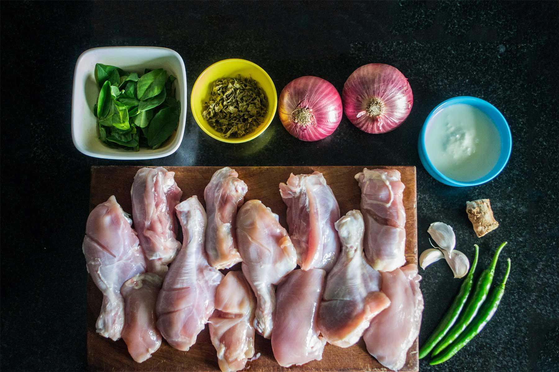Raw ingredients for Methi Malai Chicken